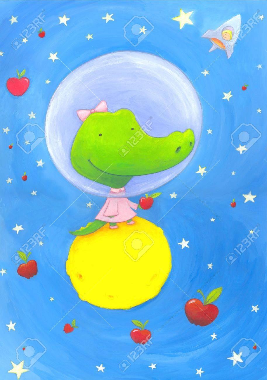abstract astronaut crocodile Stock Photo - 4815561