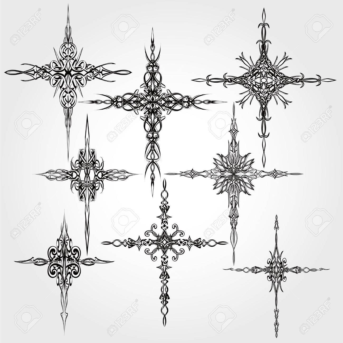 decorative cross design elements set on light background stock vector 39439844 - Decorative Cross