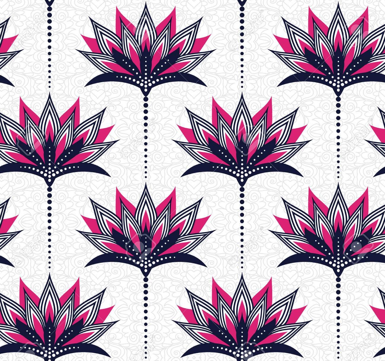 Seamless Floral Vector Pattern In Fucsia E Blu Marino Simboleggia La Luminosità E Semplicità Su Un Po Aggrovigliati Sfondo Grigio Facile Da