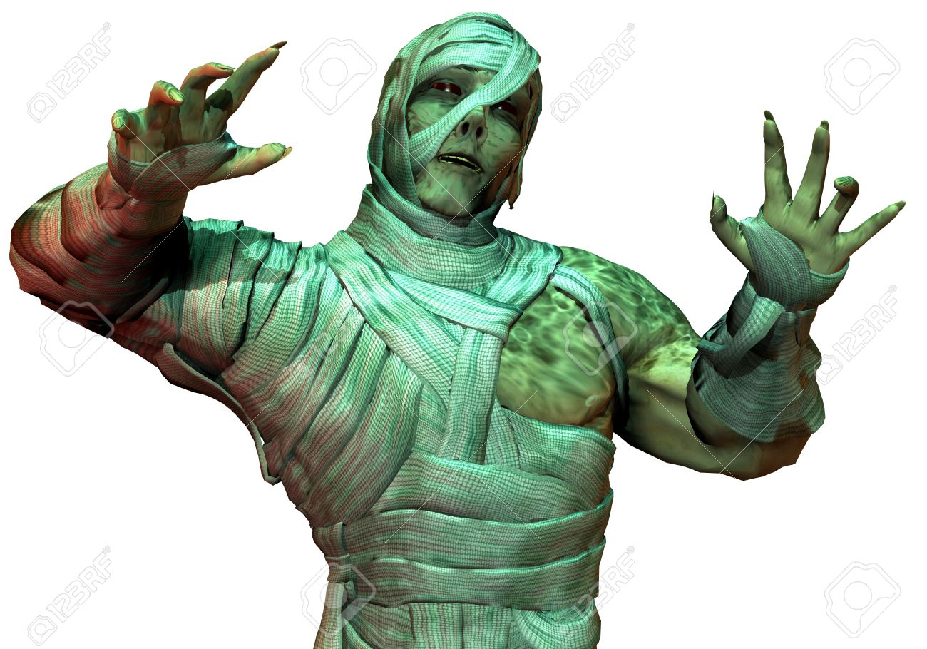 3D Rendering Undead mummy in the green neon light Stock Photo - 7877682