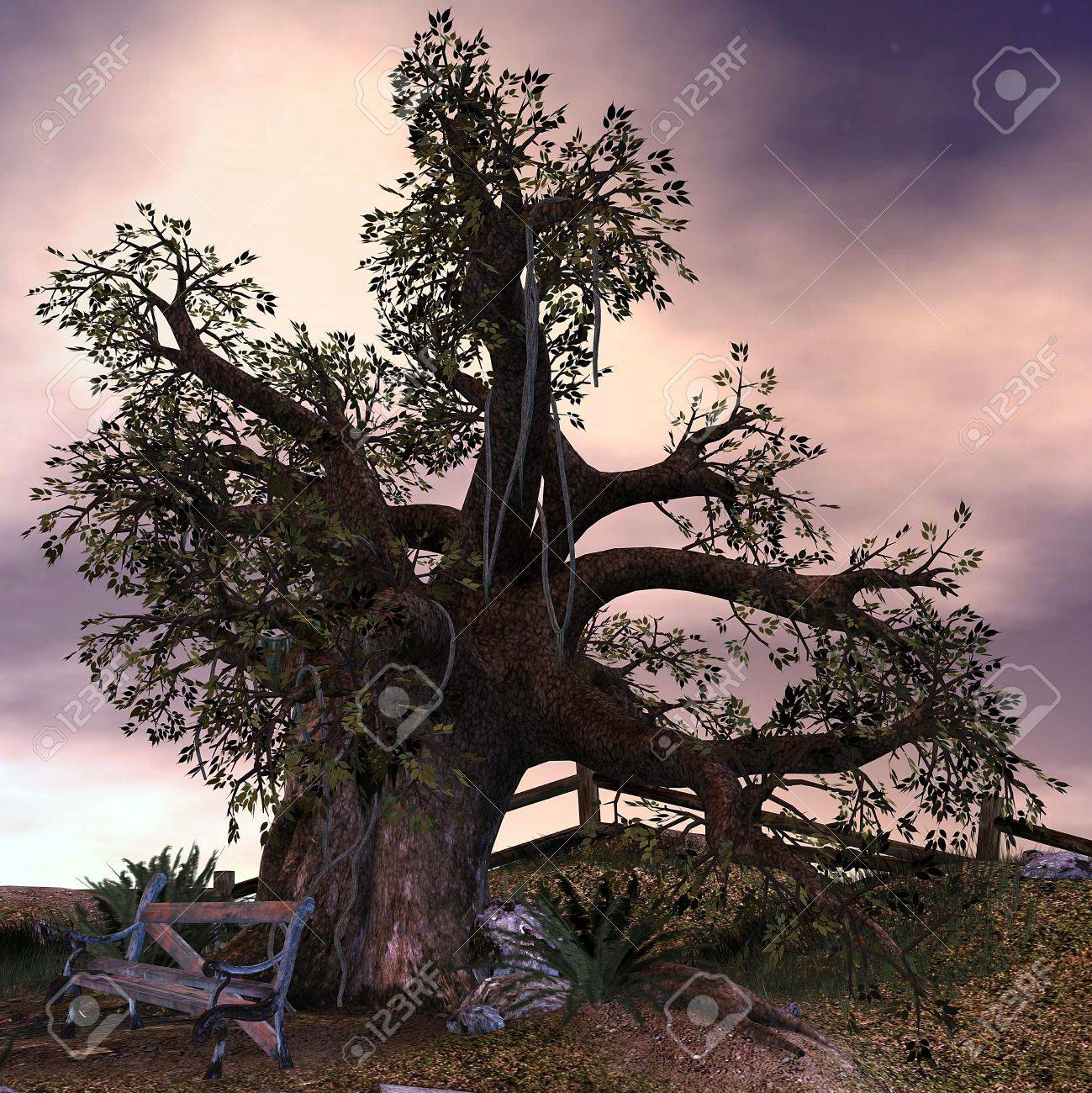 More similar stock images of 3d landscape with fall tree - 3d Rendering An Old Tree At An Abandoned Place As Illustration Stock Illustration 8053520