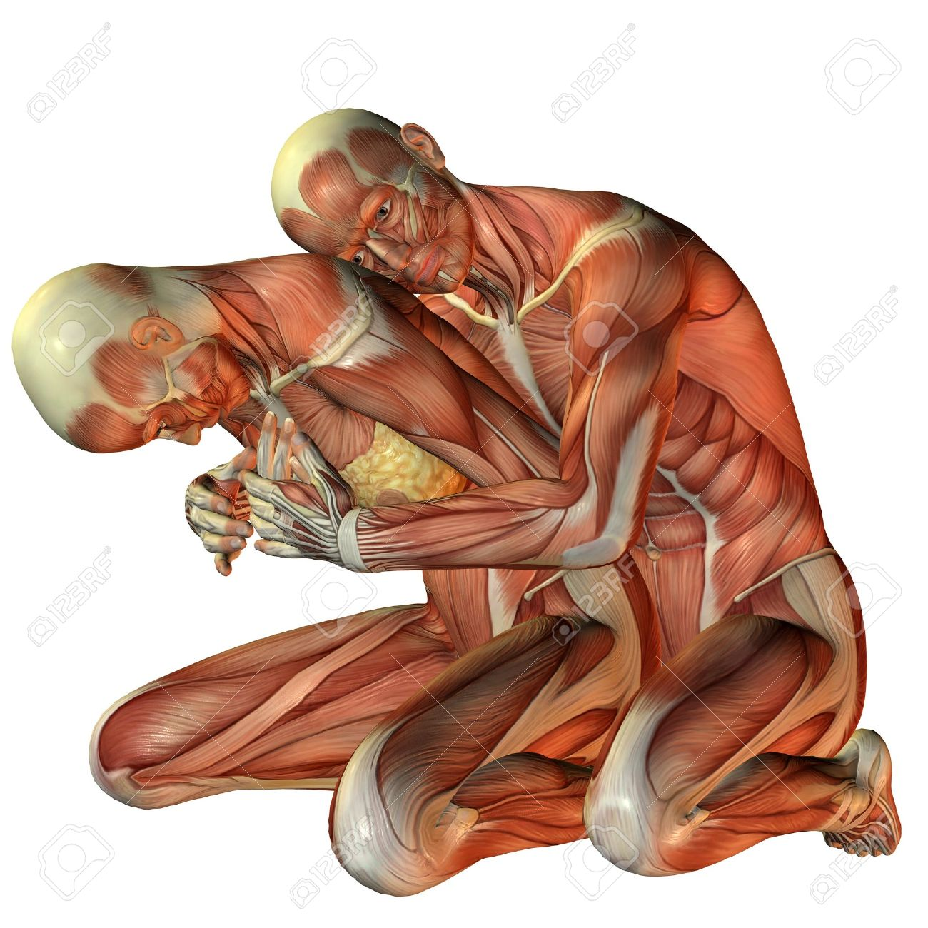 3D Rendering Muscle Man Hugging Woman From Behind Stock Photo ...