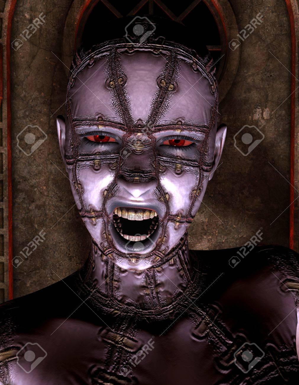 Rendering 3D portrait of a demon queen Stock Photo - 8833951