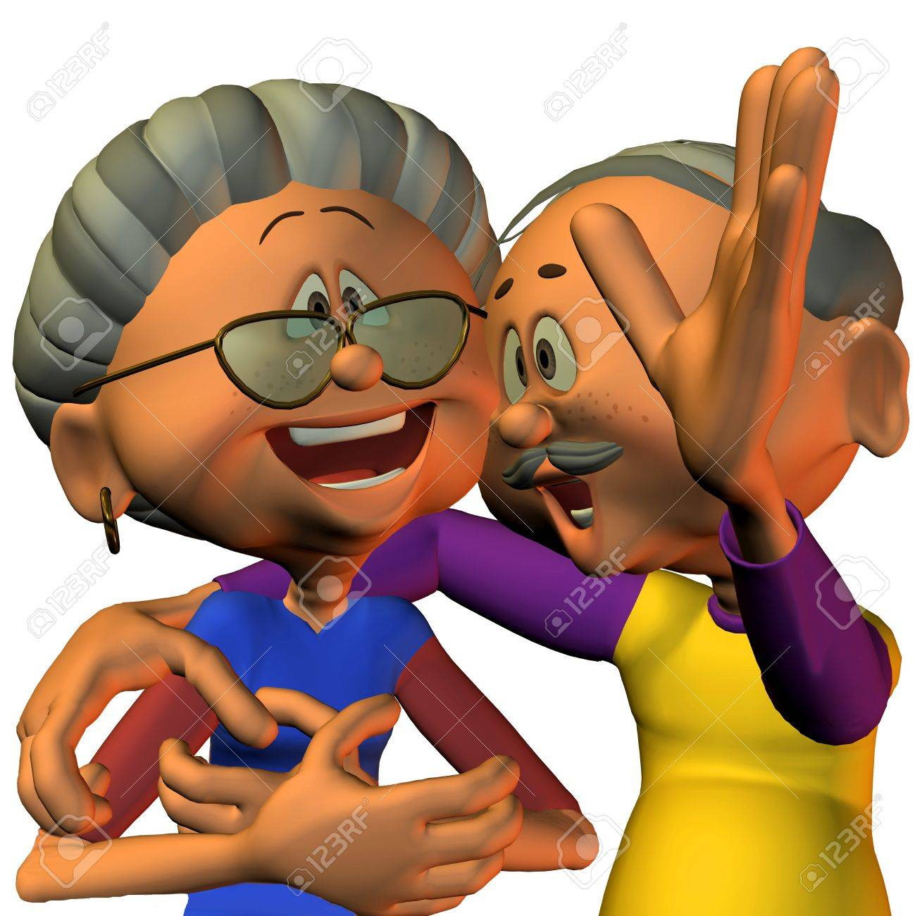 3d Rendering Of A Senior Citizen Couple Laugh As The Illustration ...