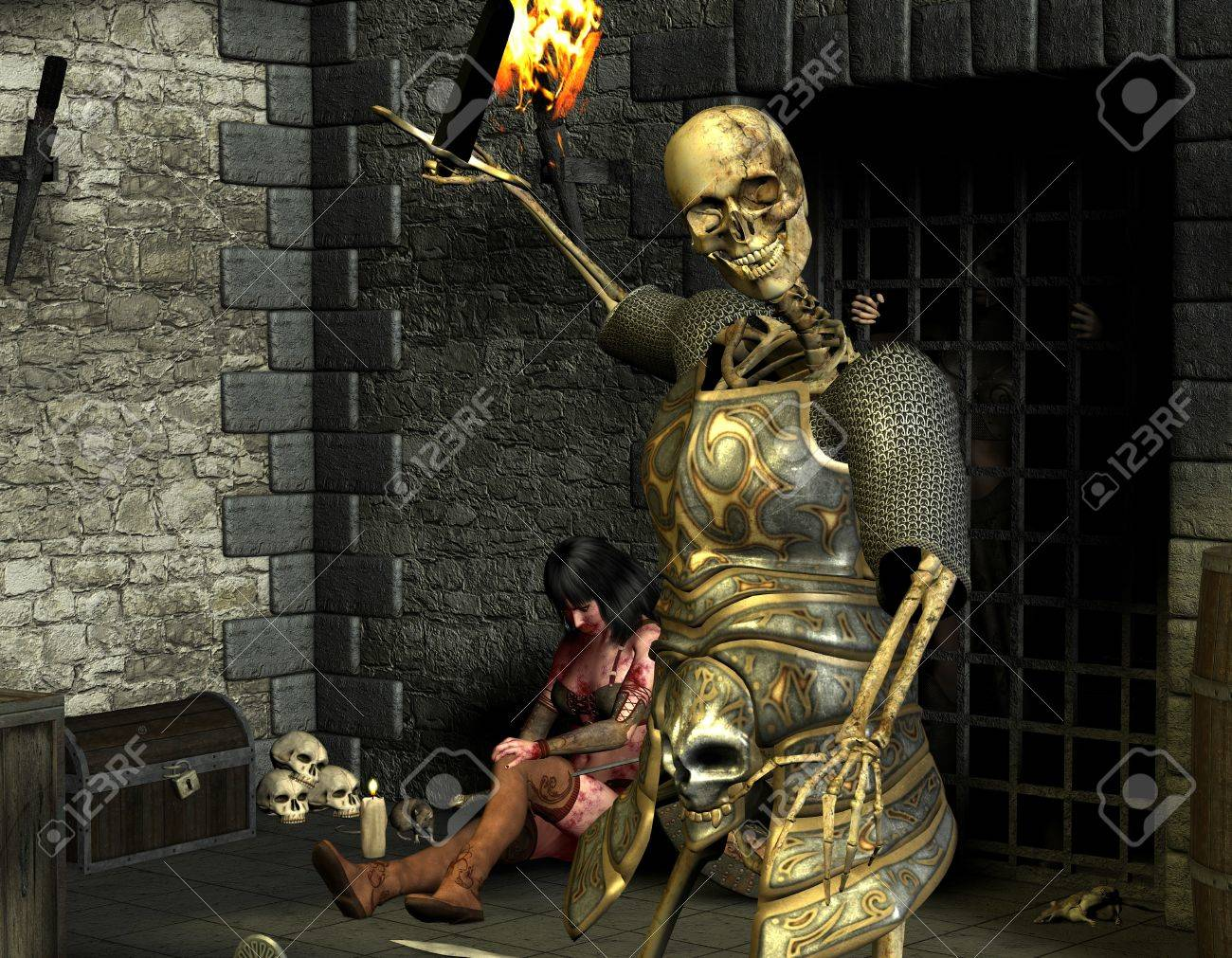 3D rendering skeleton warriors and wounded woman Stock Photo - 9861190