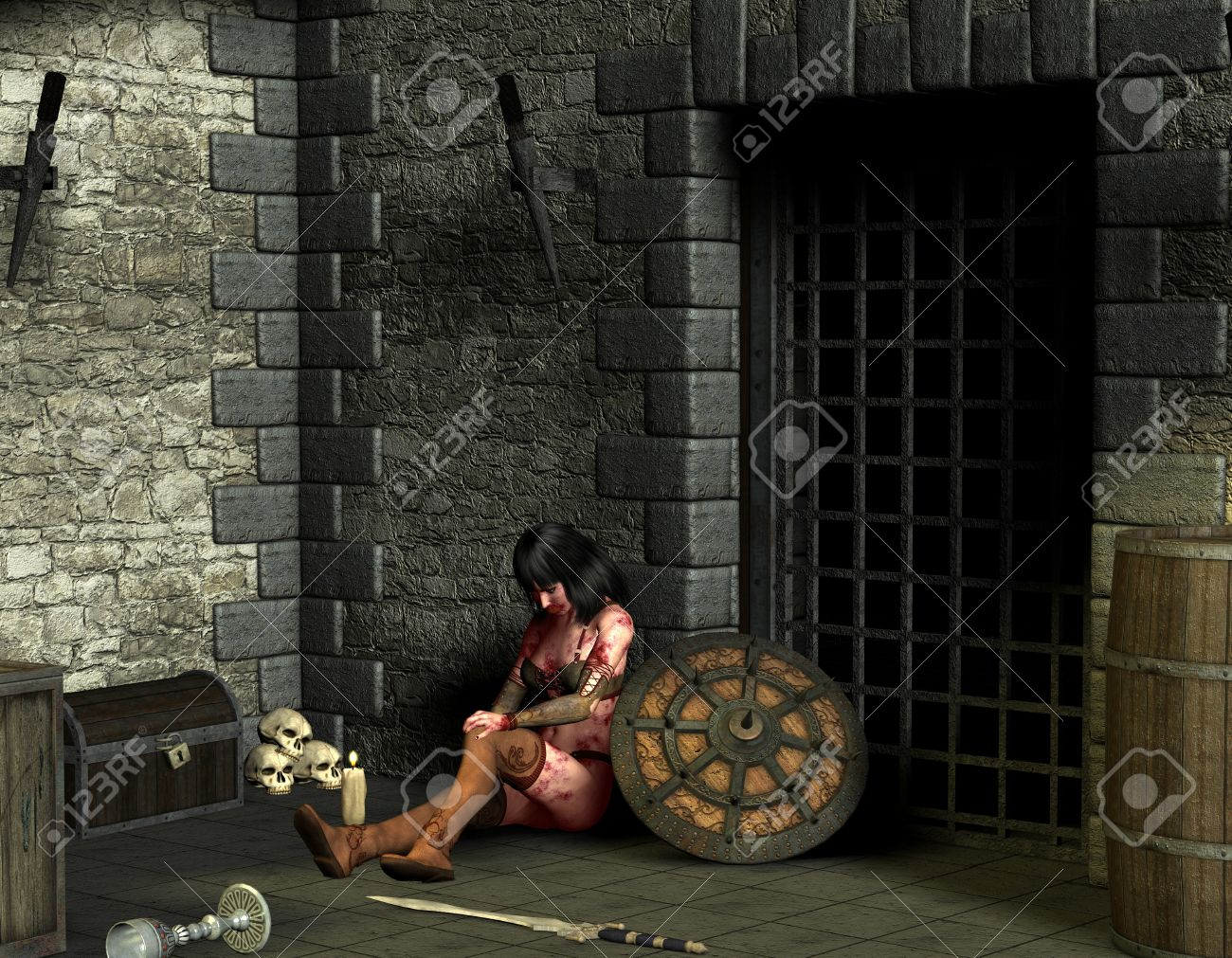 3D rendering wounded woman in dungeon Stock Photo - 9861191
