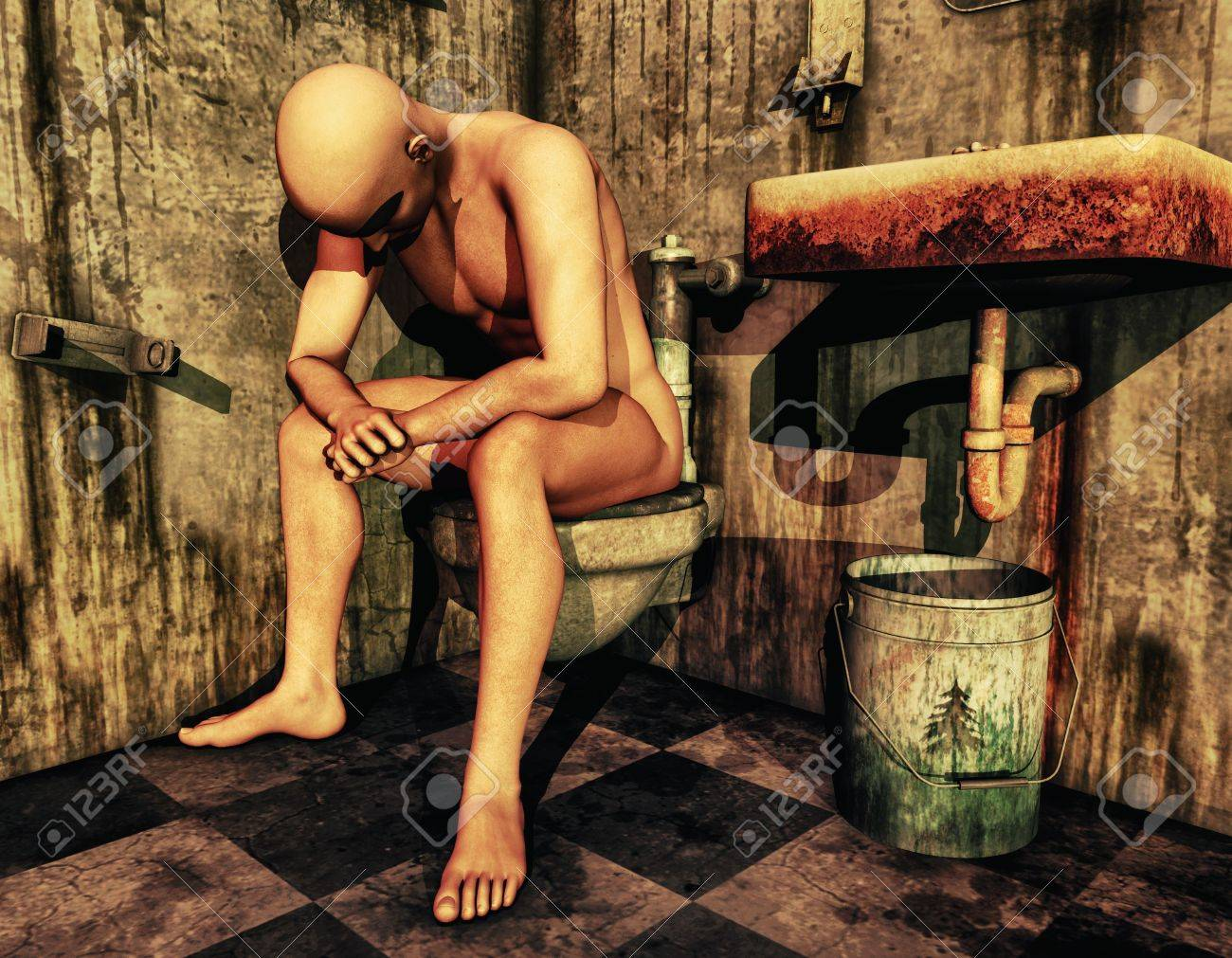 3D Rendering naked man sitting on the toilet Stock Photo - 9972075