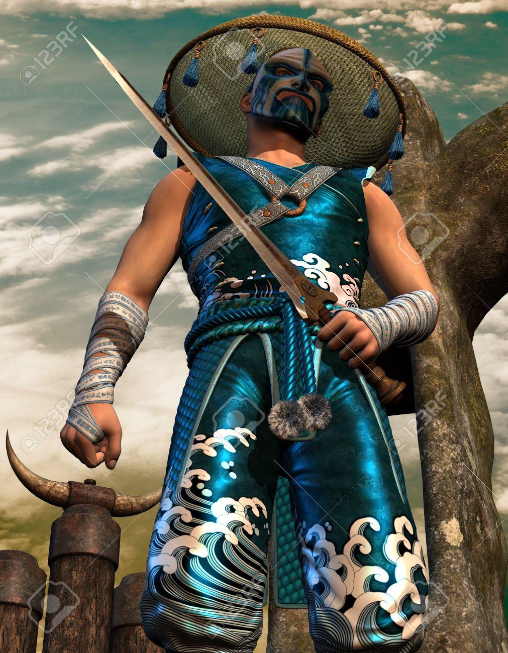 3D Rendering sword fighter in samurai clothing Stock Photo - 10871052