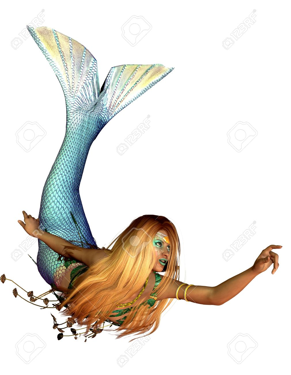 3d rendering of a mermaid in a swimming pose illustration stock