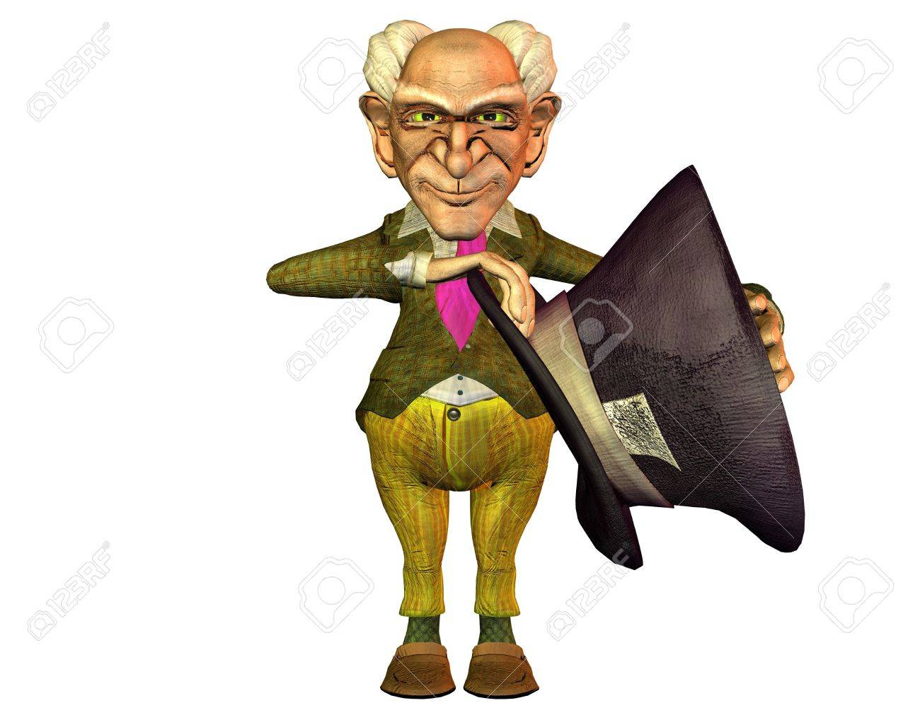 3d rendering of an old man with a big hat as illustration in comic style Stock Photo - 11209923