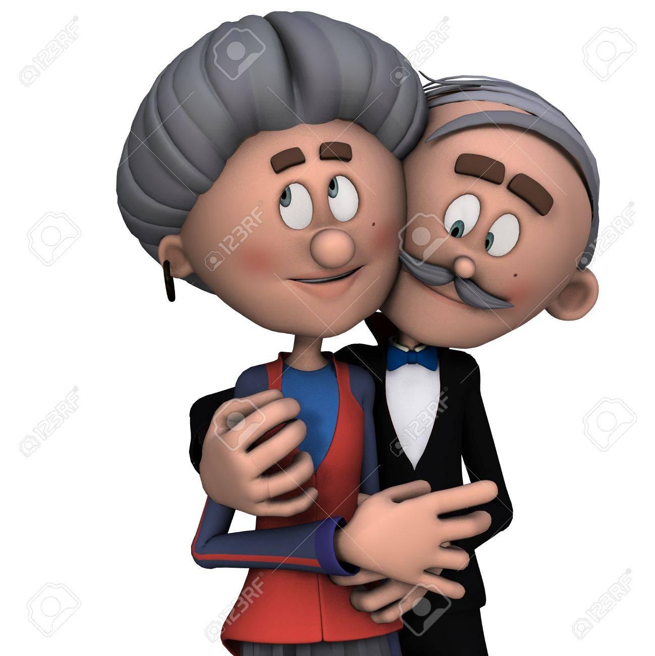 Rendu 3d De Grand Mère Et Grand Père Dans L Amour Comme Illustration