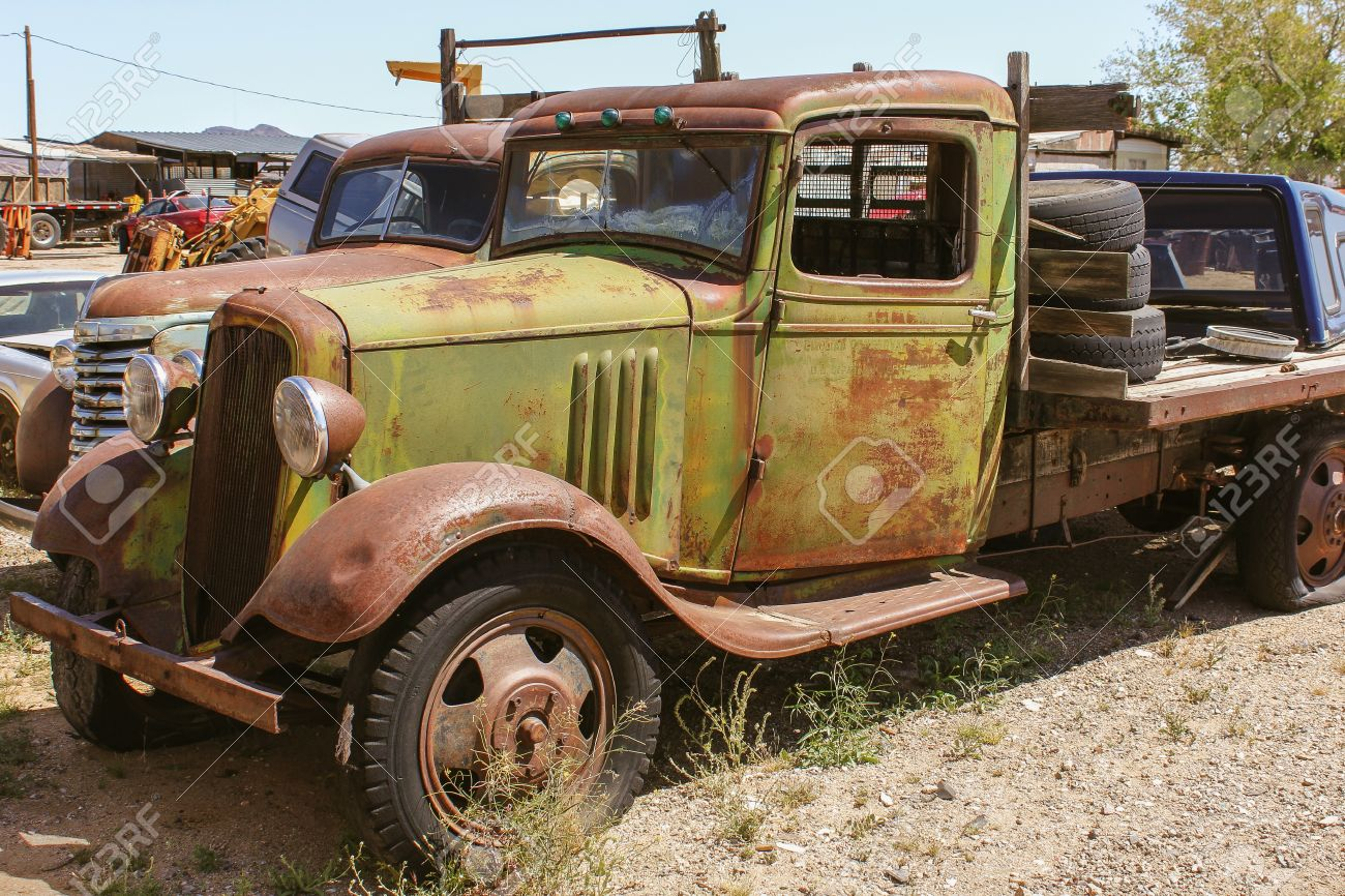 Old American Pickup At A Junkyard Stock Photo, Picture And Royalty ...