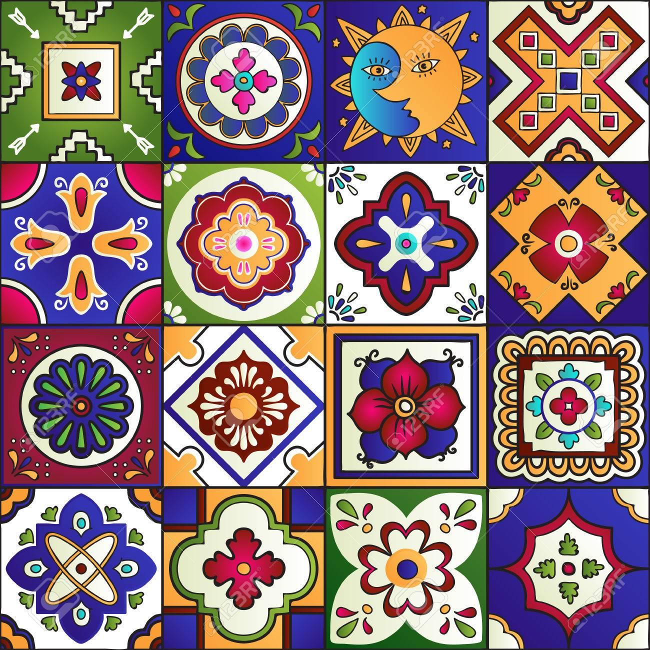Talavera set of 16 mexican tiles. Seamless pattern - 51405632