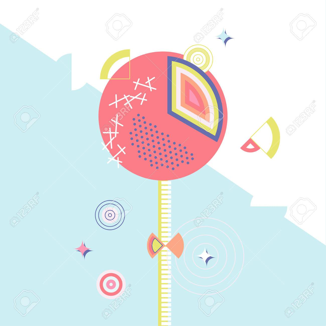 Vector Sweet Lollipop Candy Illustration Made In 80s Memphis