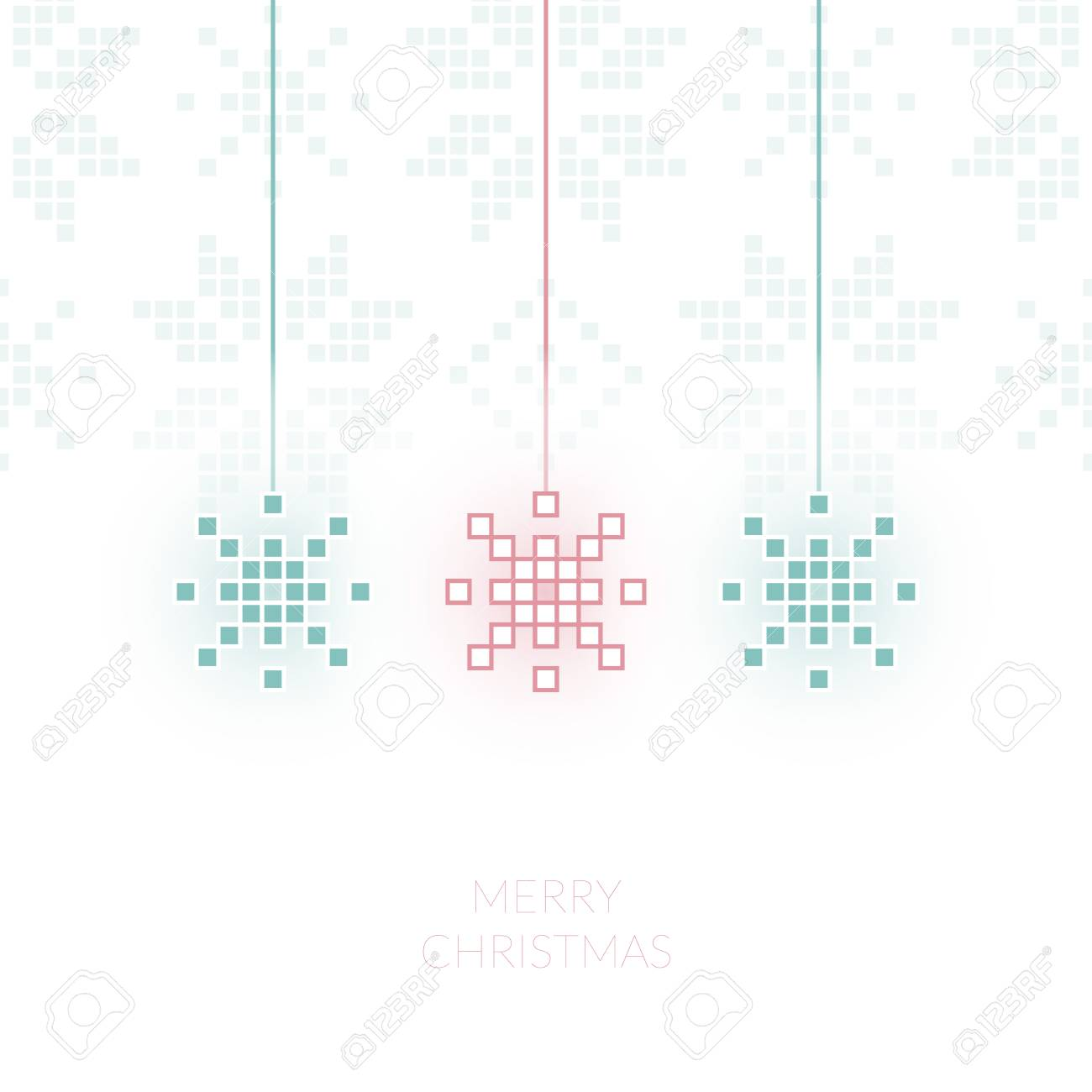 Pixel Snowflake Simple Christmas Greeting Card Can Be Used As