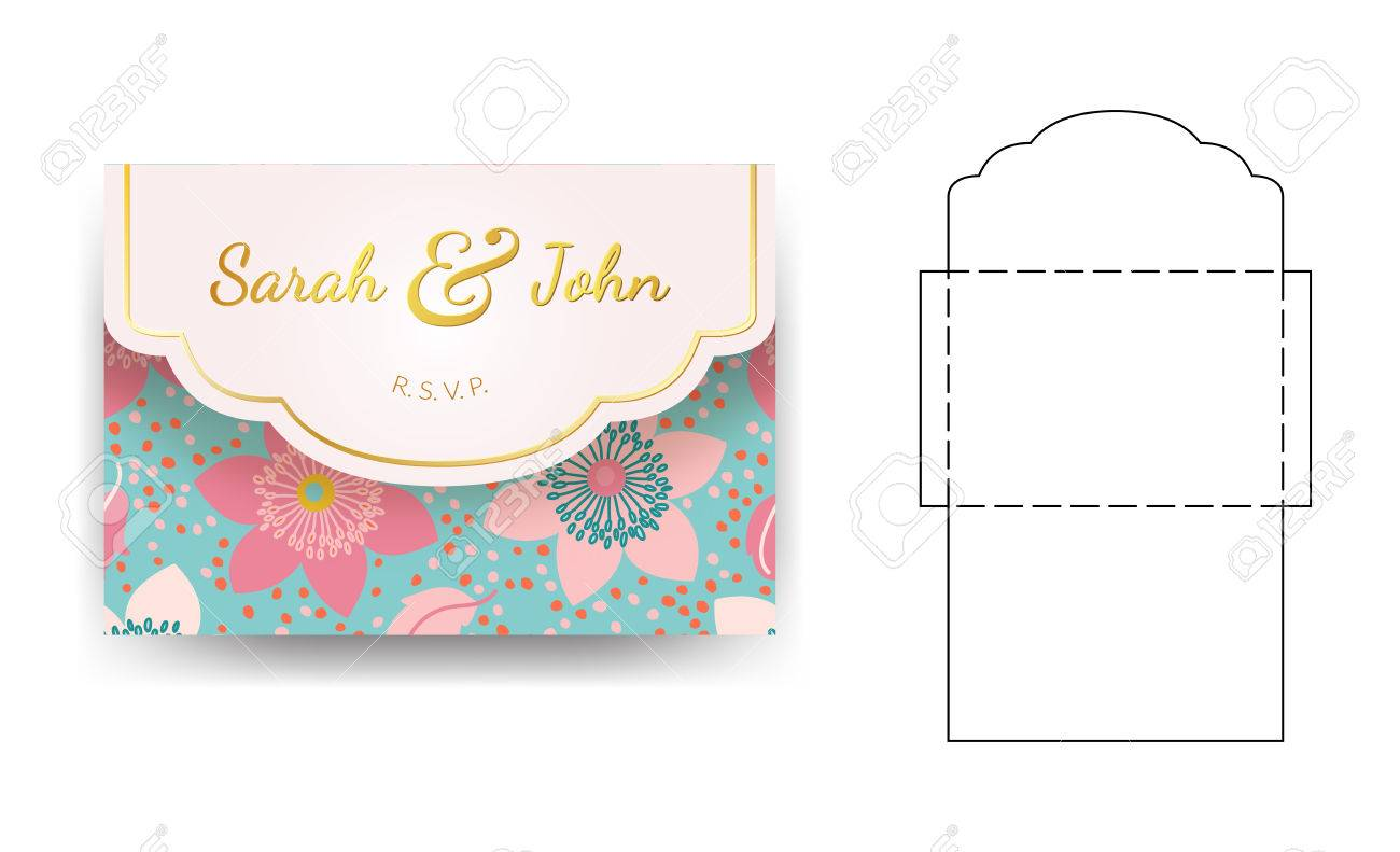 Tri fold wedding invitation pocket envelope svg template, tri fold.