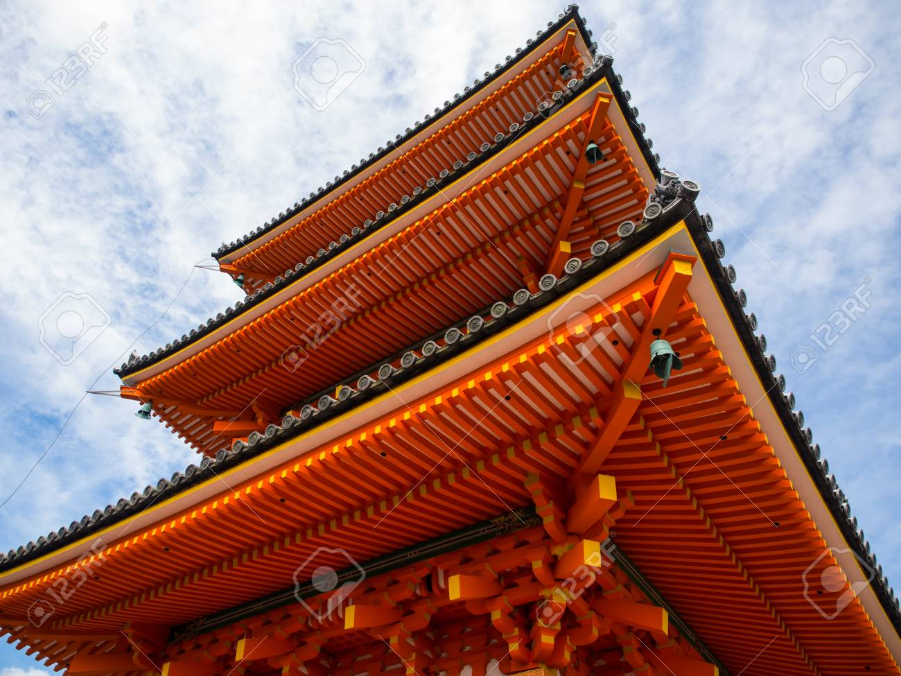 The Nice Design Of Japanese Shrine S Structure The Red Wooden Stock Photo Picture And Royalty Free Image Image 84788475