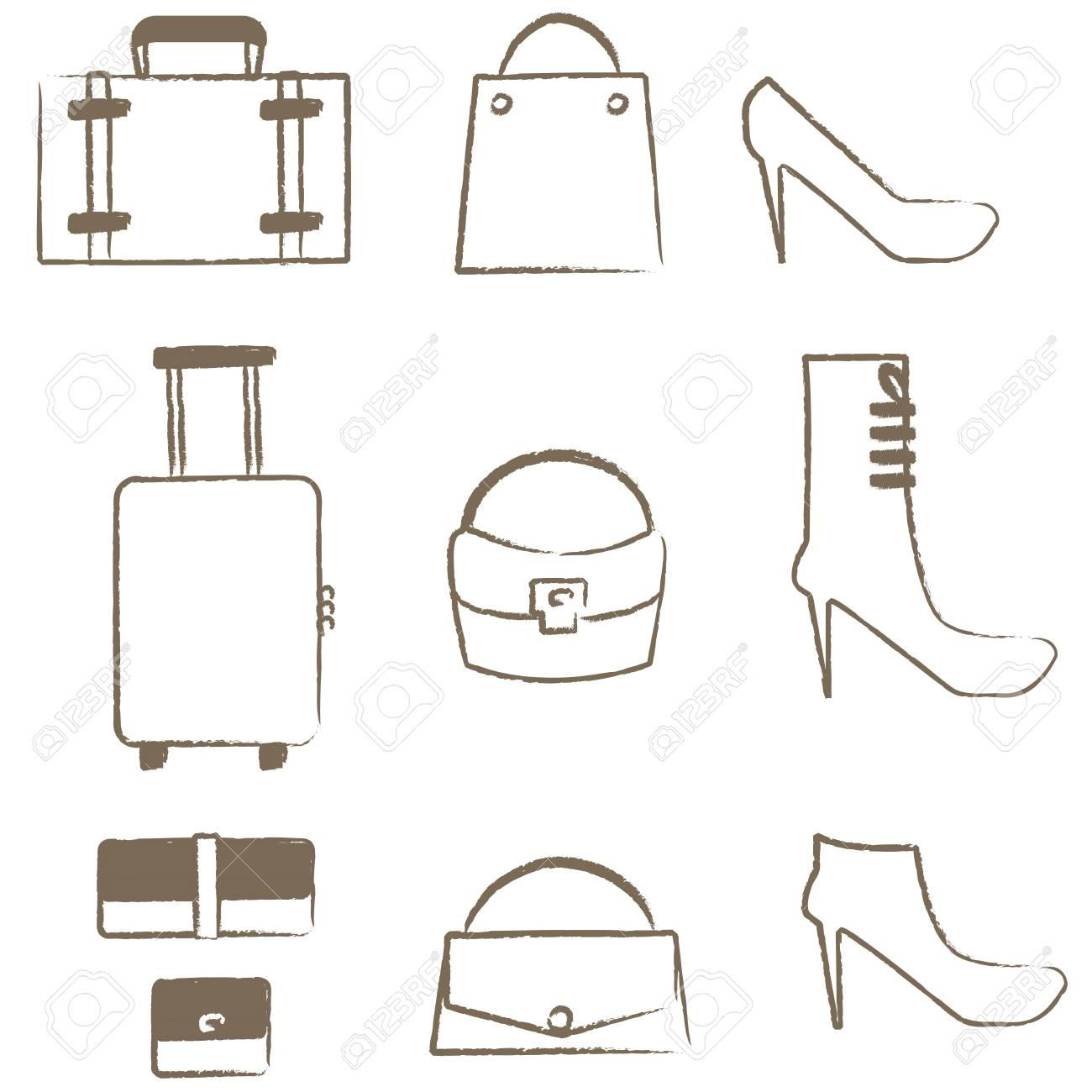 Easy line drawing womens items no 2 bags and shoes stock vector 74897234
