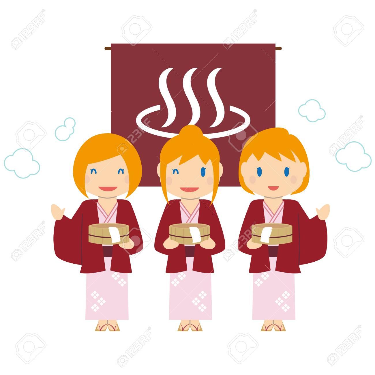 かわいい金髪外国人女性 3 温泉旅行のイラスト素材 ベクタ Image