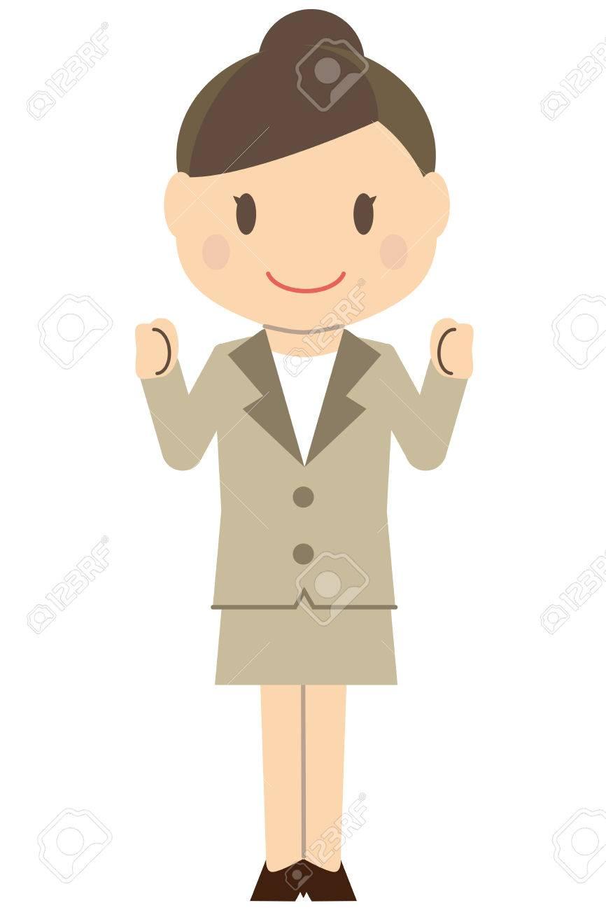 Cute Haargebundene Business Frau Frau Beige Passt Frauen Kleine Eingeweide  Posieren Mit Beiden Händen Standard