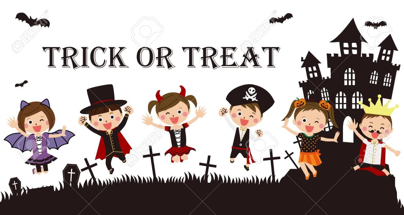 Halloween Pop.Pop Kids Wearing Halloween Costumes Jumping Background