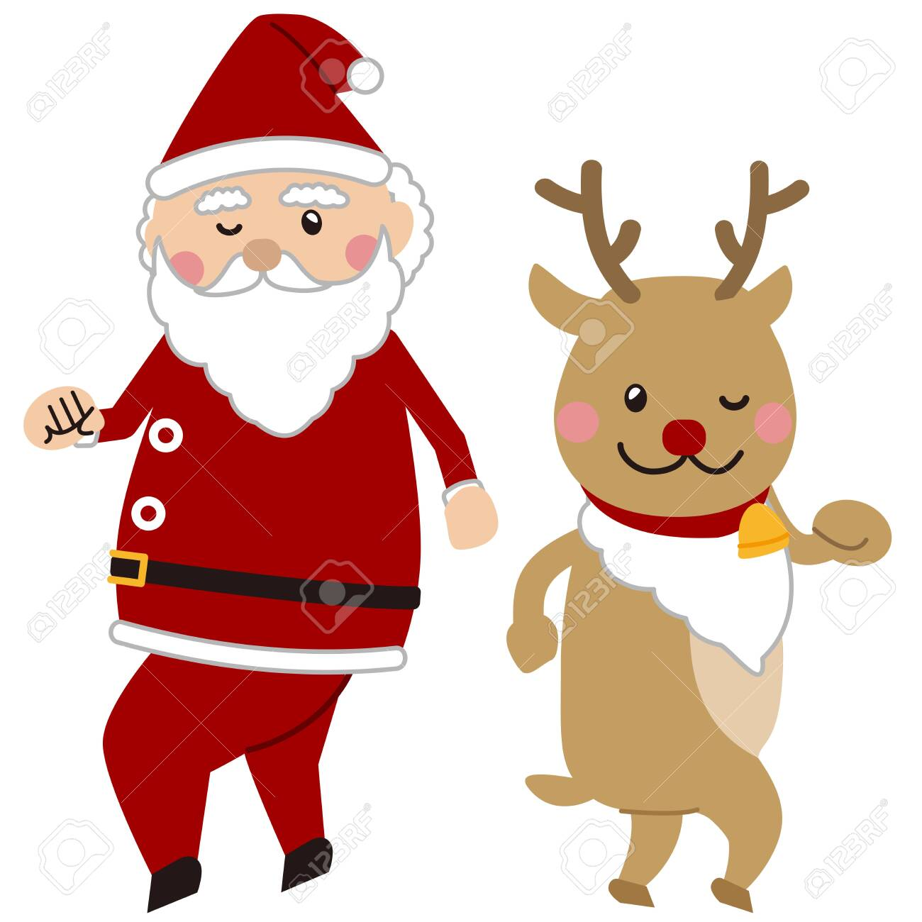 Dancing Santa Claus And Reindeer Royalty Free Cliparts Vectors And Stock Illustration Image 133866819