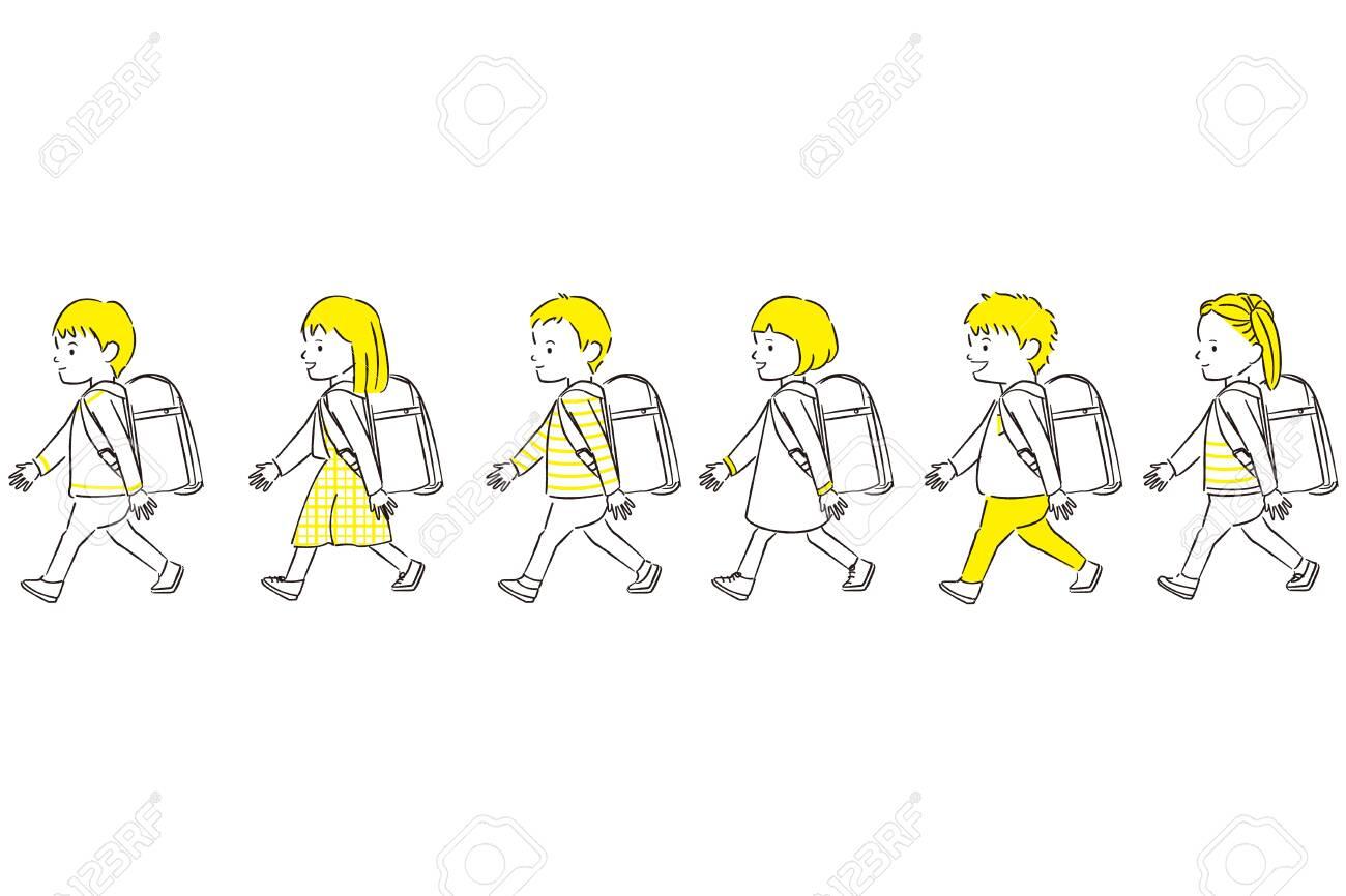 Hand-painted 1color boy girl 6 people walk ingress up a randoseru - 141013292