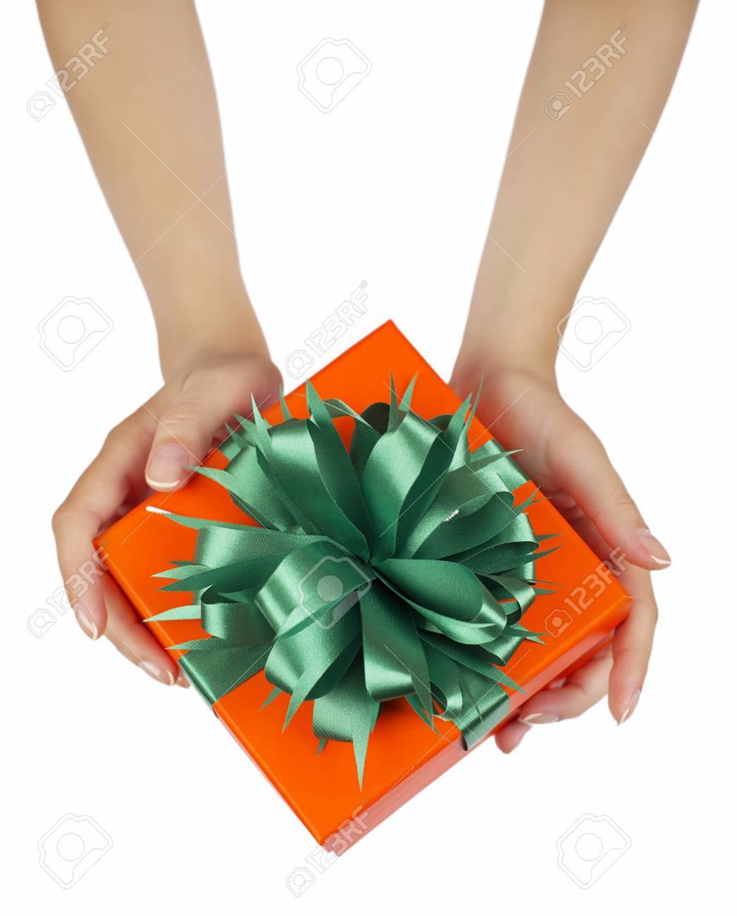 Hände, Die Schöne Geschenk-Box, Frauen Geben Geschenk ...