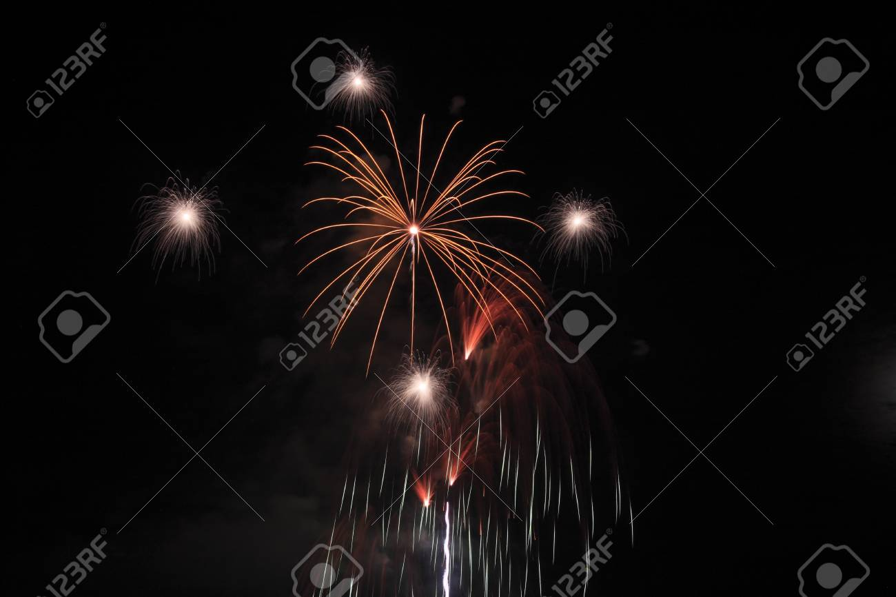 Japanese traditional fireworks against the night sky  in Japan Stock Photo - 15003315
