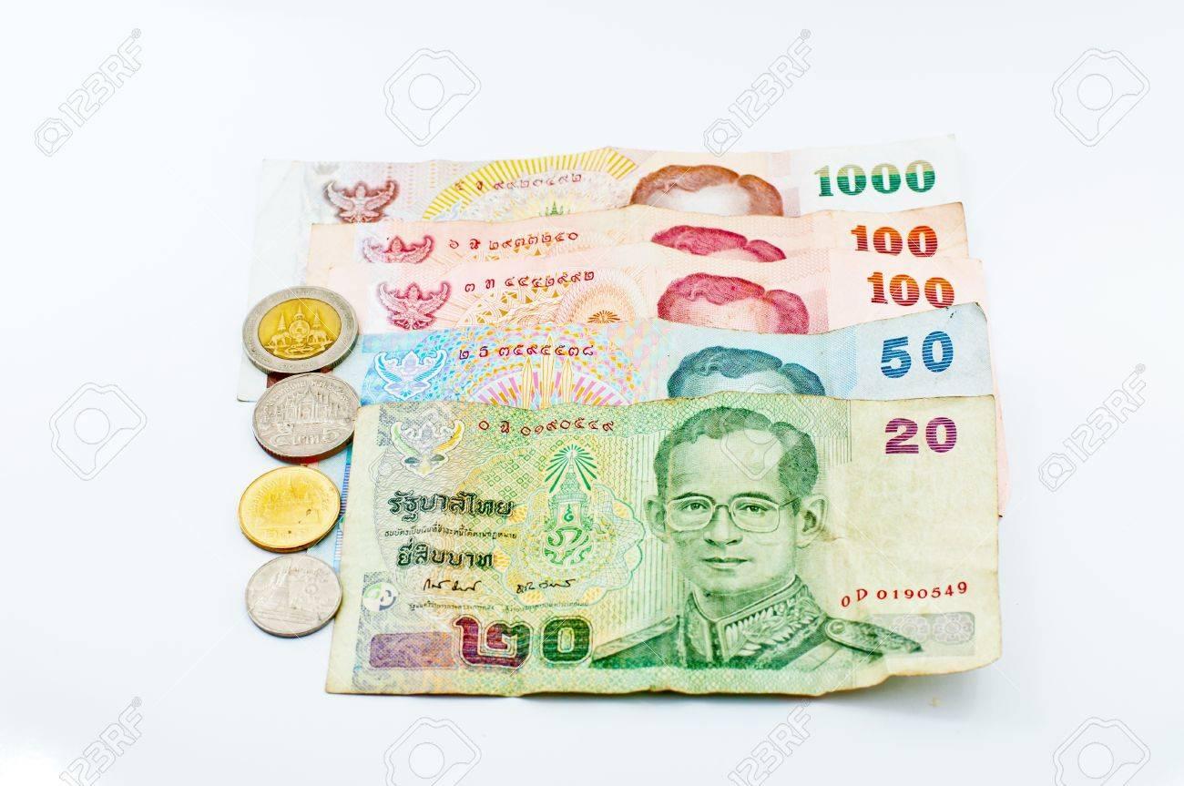 Un Couple De Bons Du Baht Thaïlandais Et Pièces De Monnaie Banque D