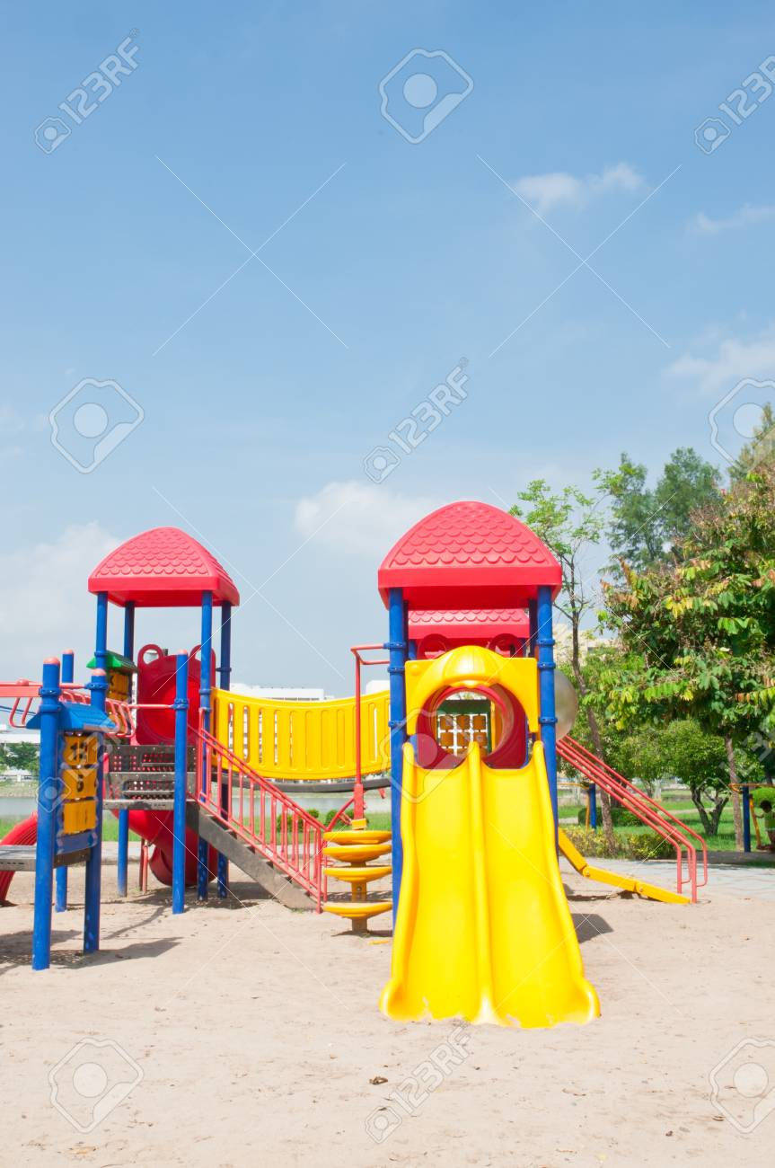 Modern children playground in park Stock Photo - 15390185