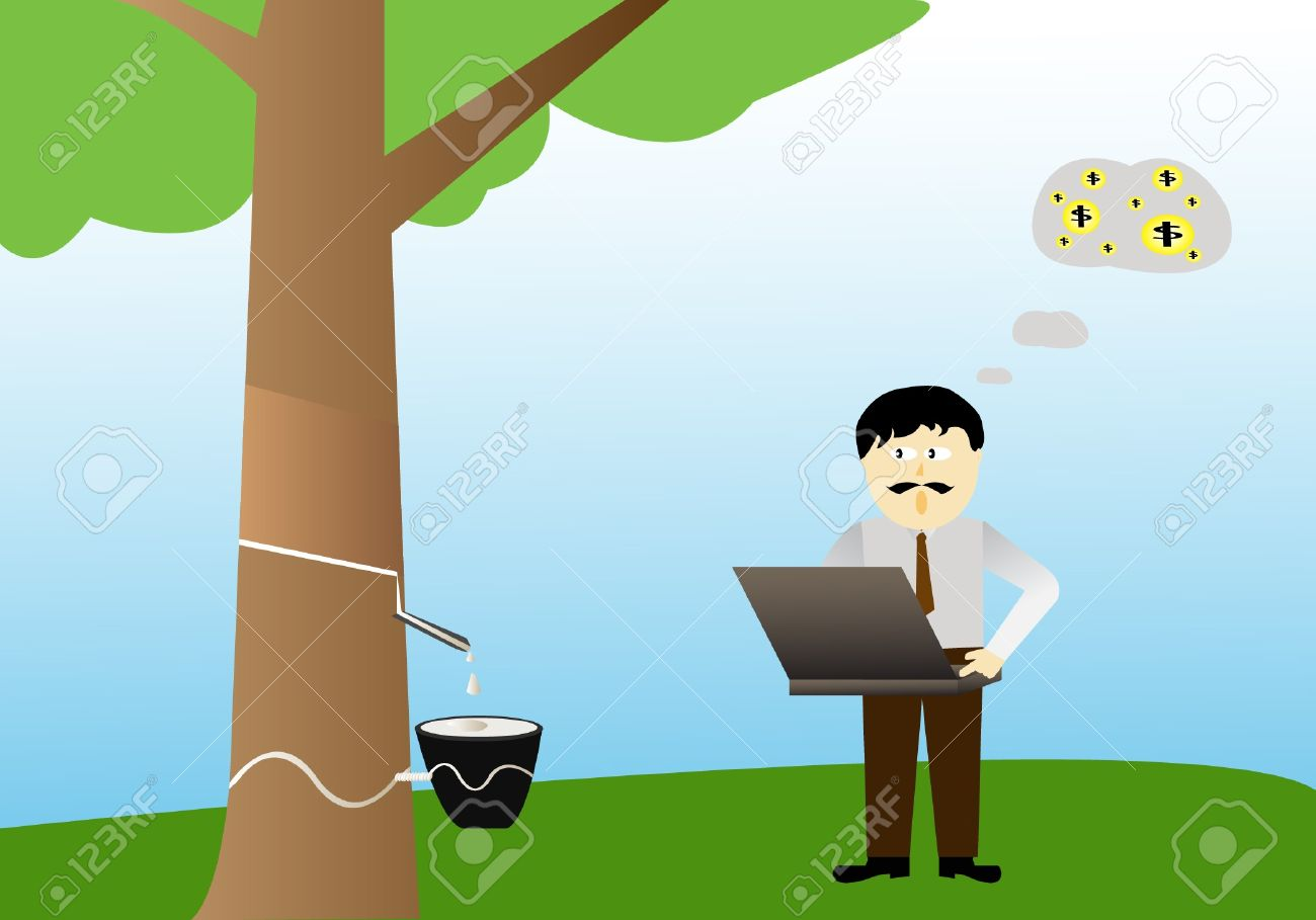 Businessman And Rubber Tree Royalty Free Cliparts Vectors And