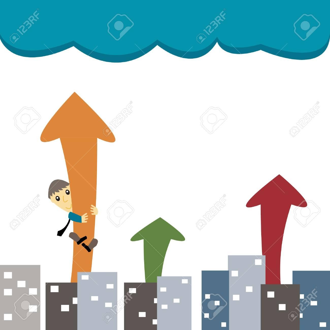 Businessman Arrow Up Stock Vector - 17895377