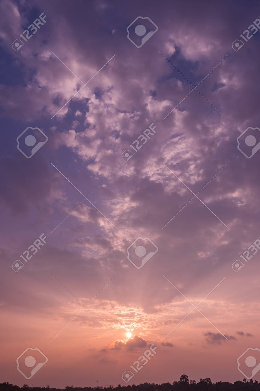 Sunset Sky Background With The Colors Of Rose Quartz And Serenity