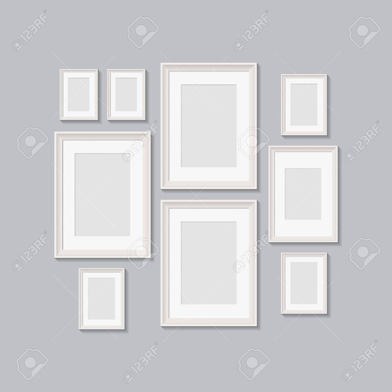 blank picture frames for photographs. vector realisitc mockup with borders. design template on transparent background - 126306726