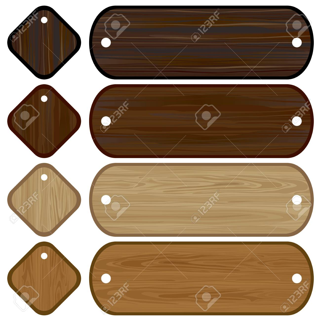 Wooden banners and labels set Stock Vector - 6965335