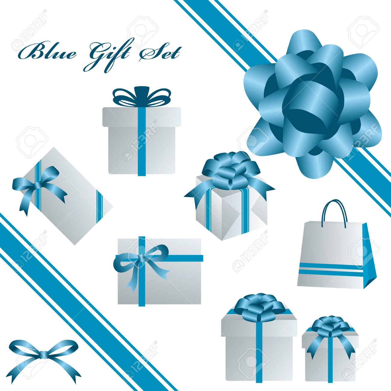 This graphic is blue gift set. Stock Vector - 7297177