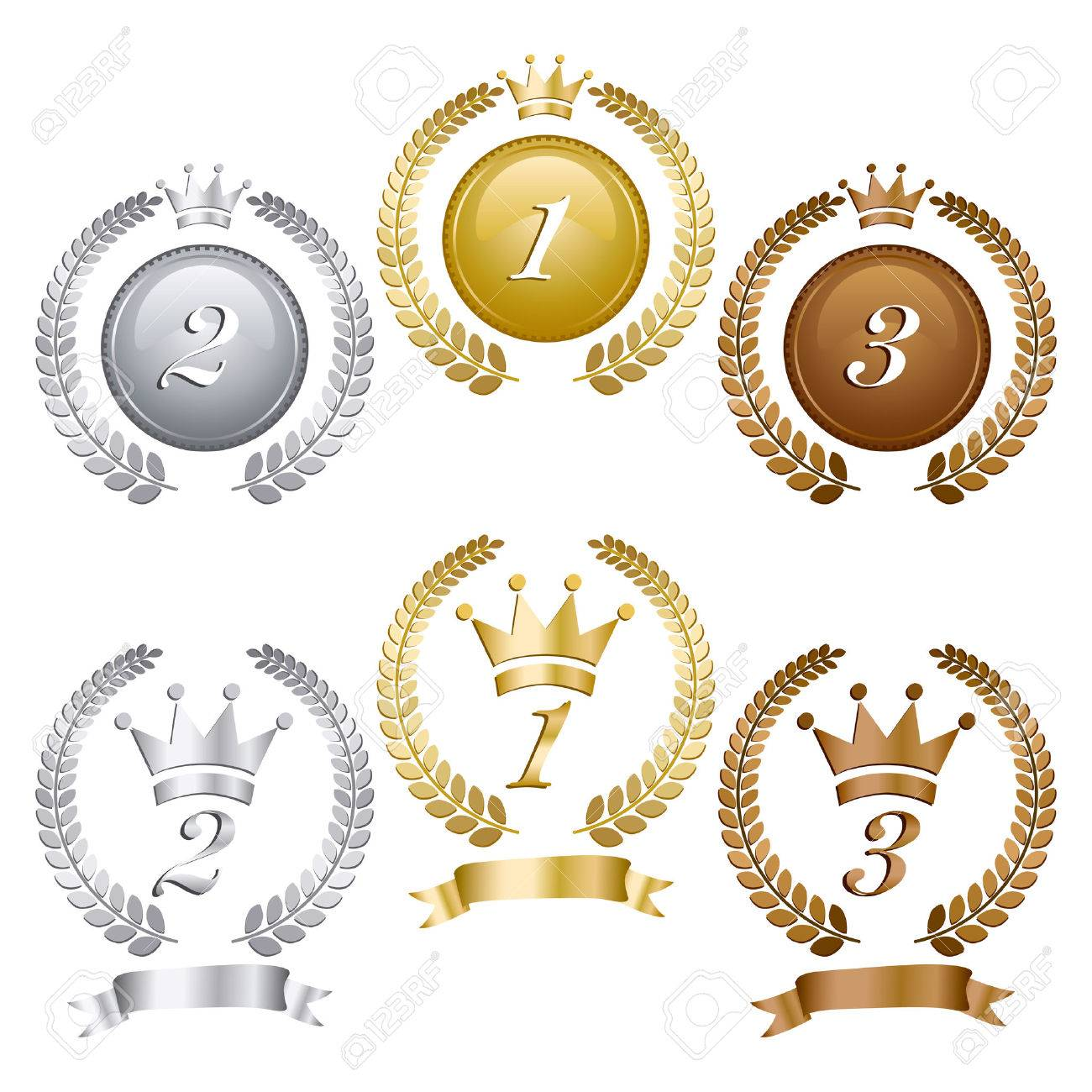 Gold silver and bronze medals Stock Vector - 7362108