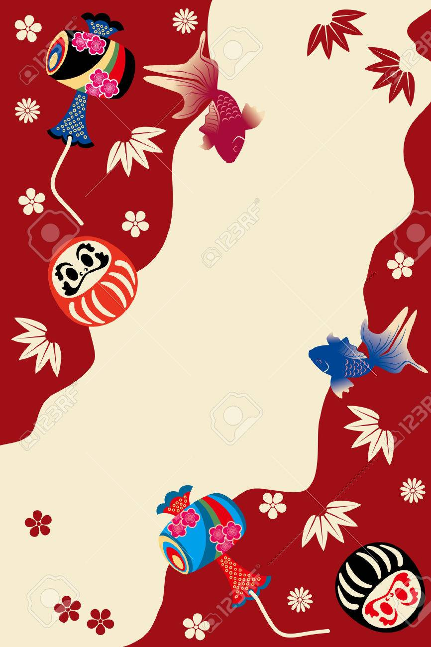 Japanese traditional card. Illustration vector. Stock Vector - 8408596