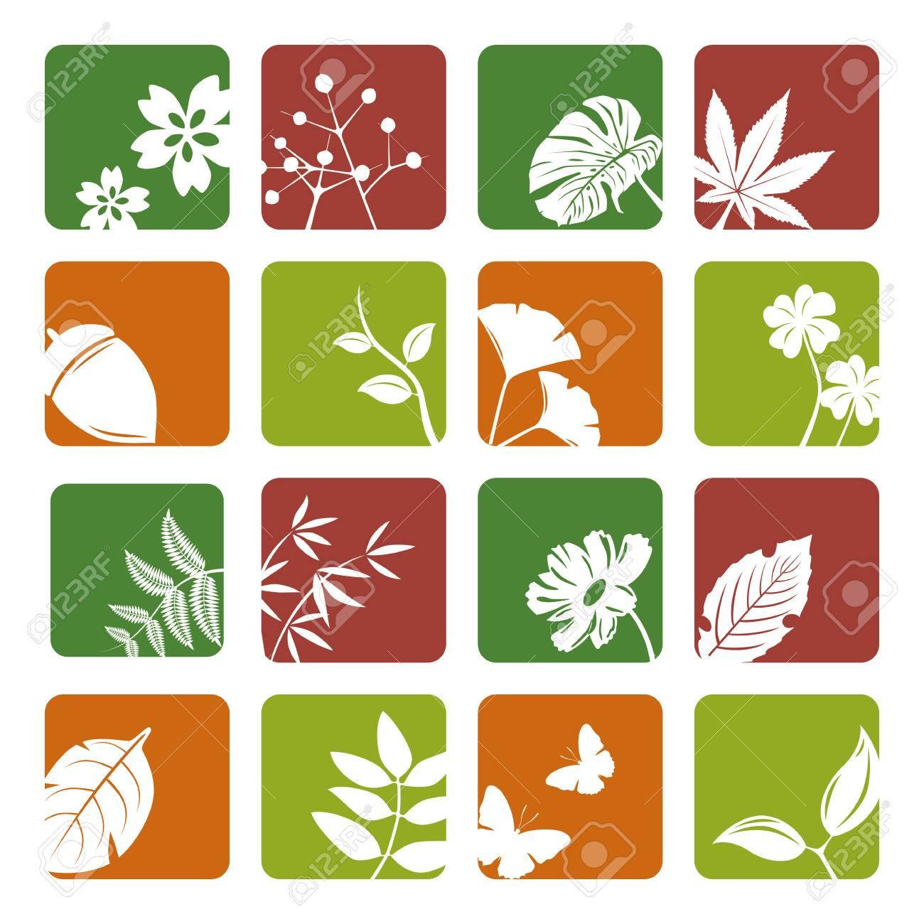 Leaf icons set. Illustration vector. Stock Vector - 8486565