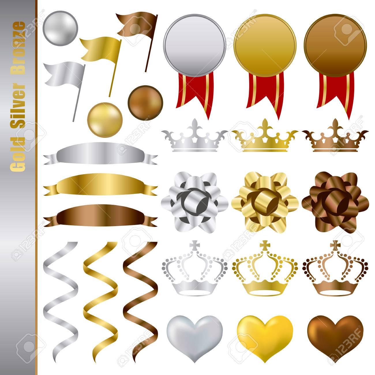 Gold Silver bronze Awards Set. Illustration Stock Vector - 8646146