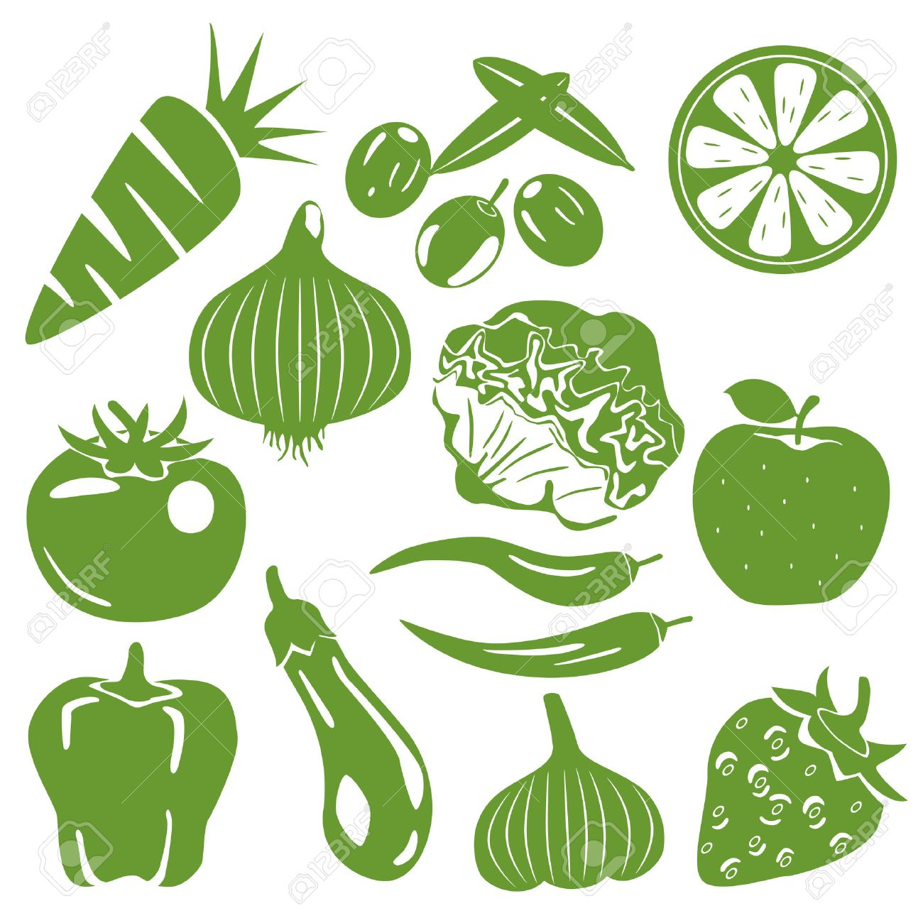 Foodstuff green icons set. Illustration vector. - 8913097