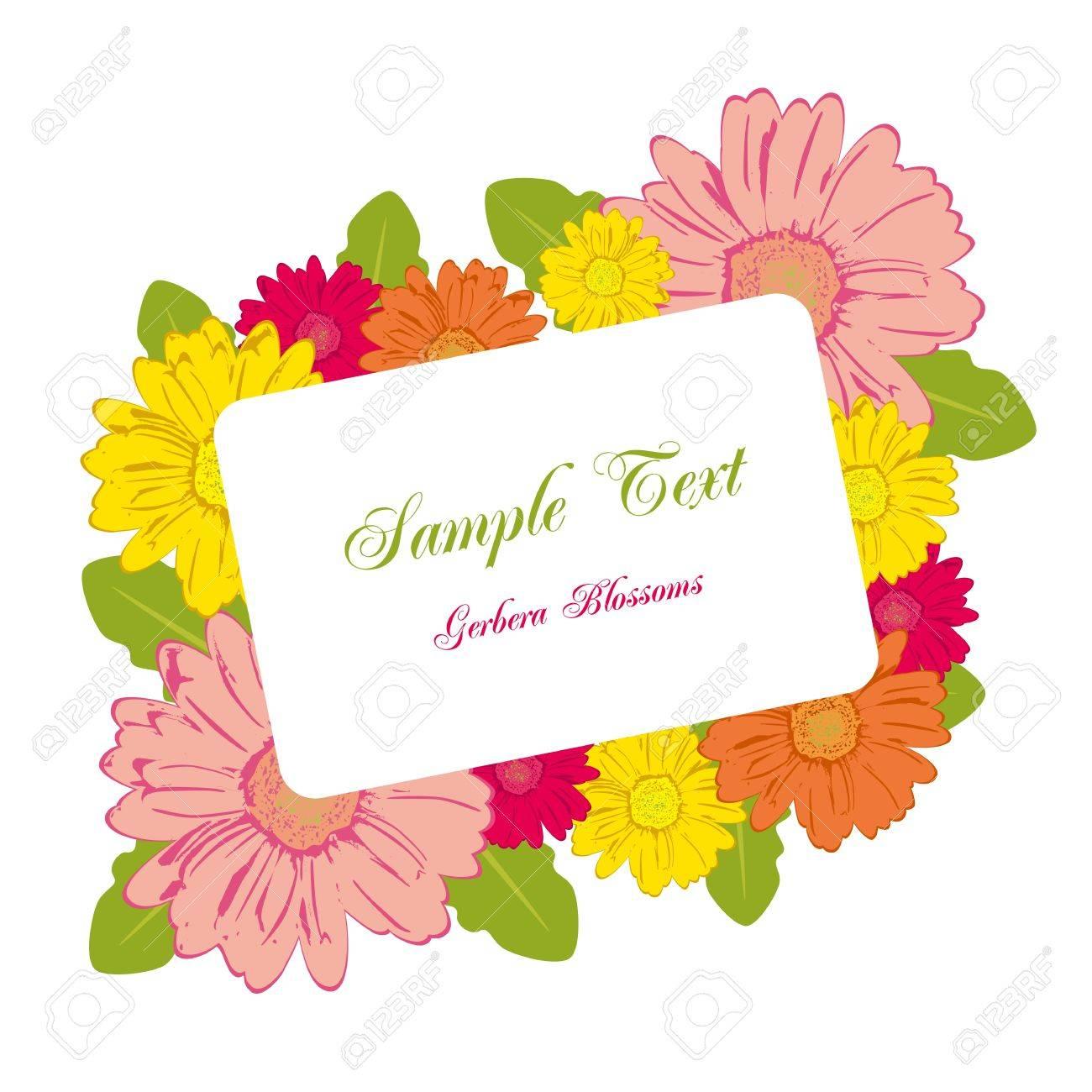 ガーベラの花フレーム。イラスト ベクトル。 ロイヤリティフリークリップ