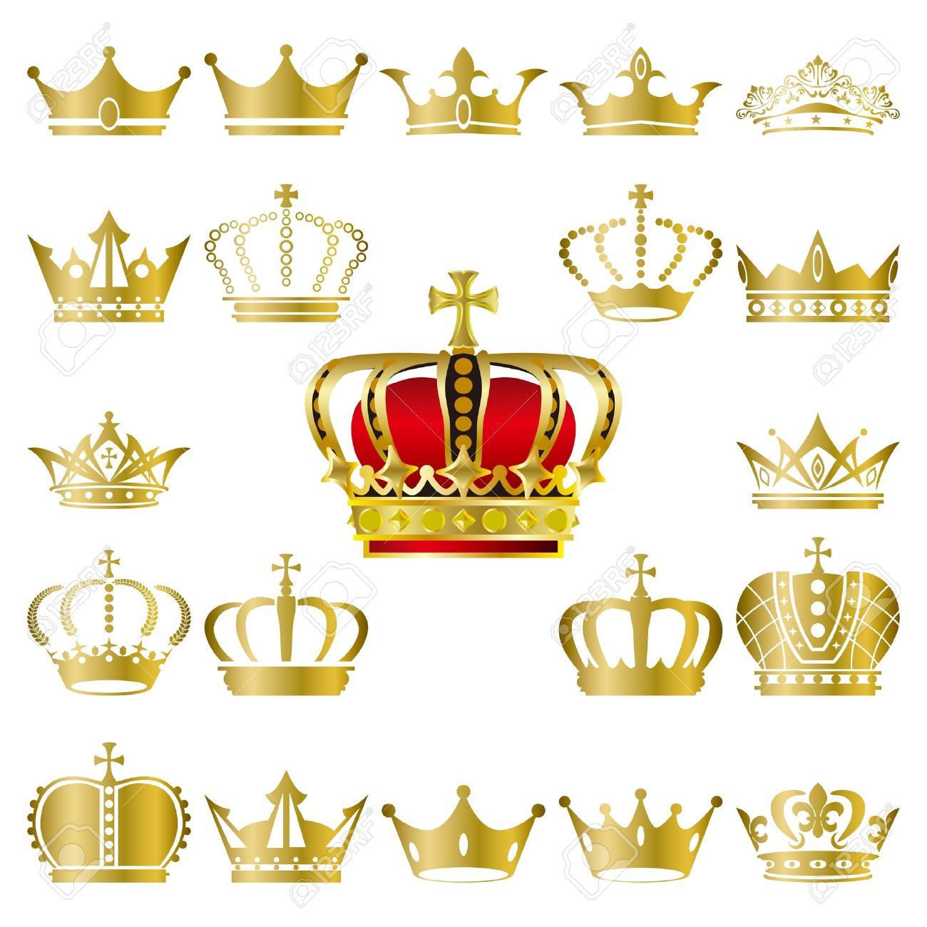 Crown and tiara icons set. Illustration vector. Stock Vector - 9216163