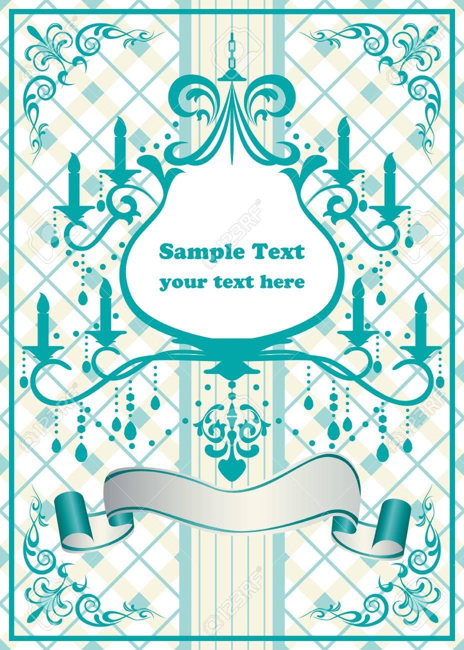Chandelier blue frame. Stock Vector - 9550608