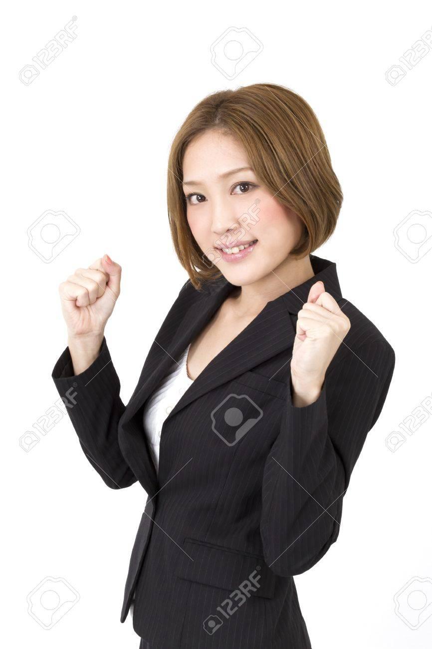 Beautiful asian business woman cheering Stock Photo - 11373428