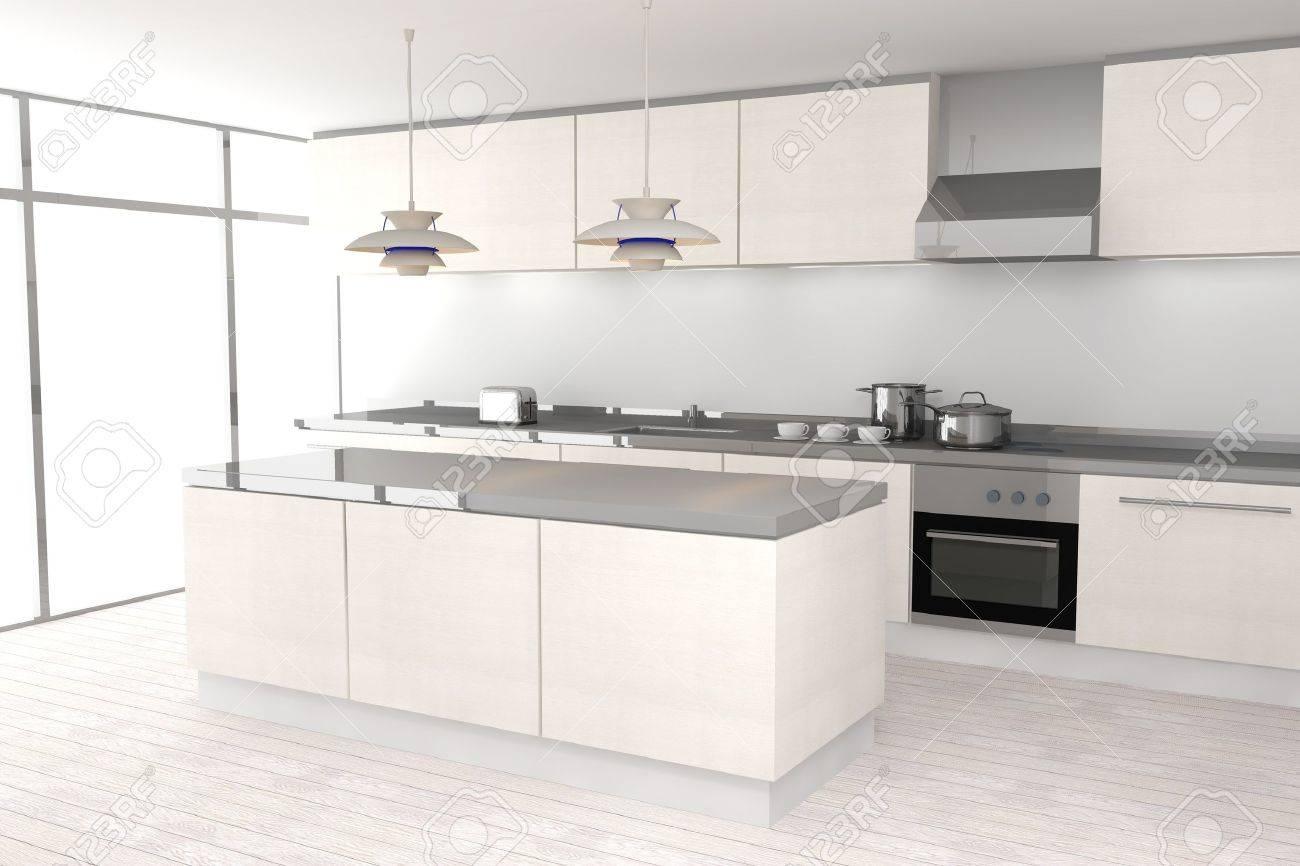 Weiße Moderne Küche Standard Bild   12872944