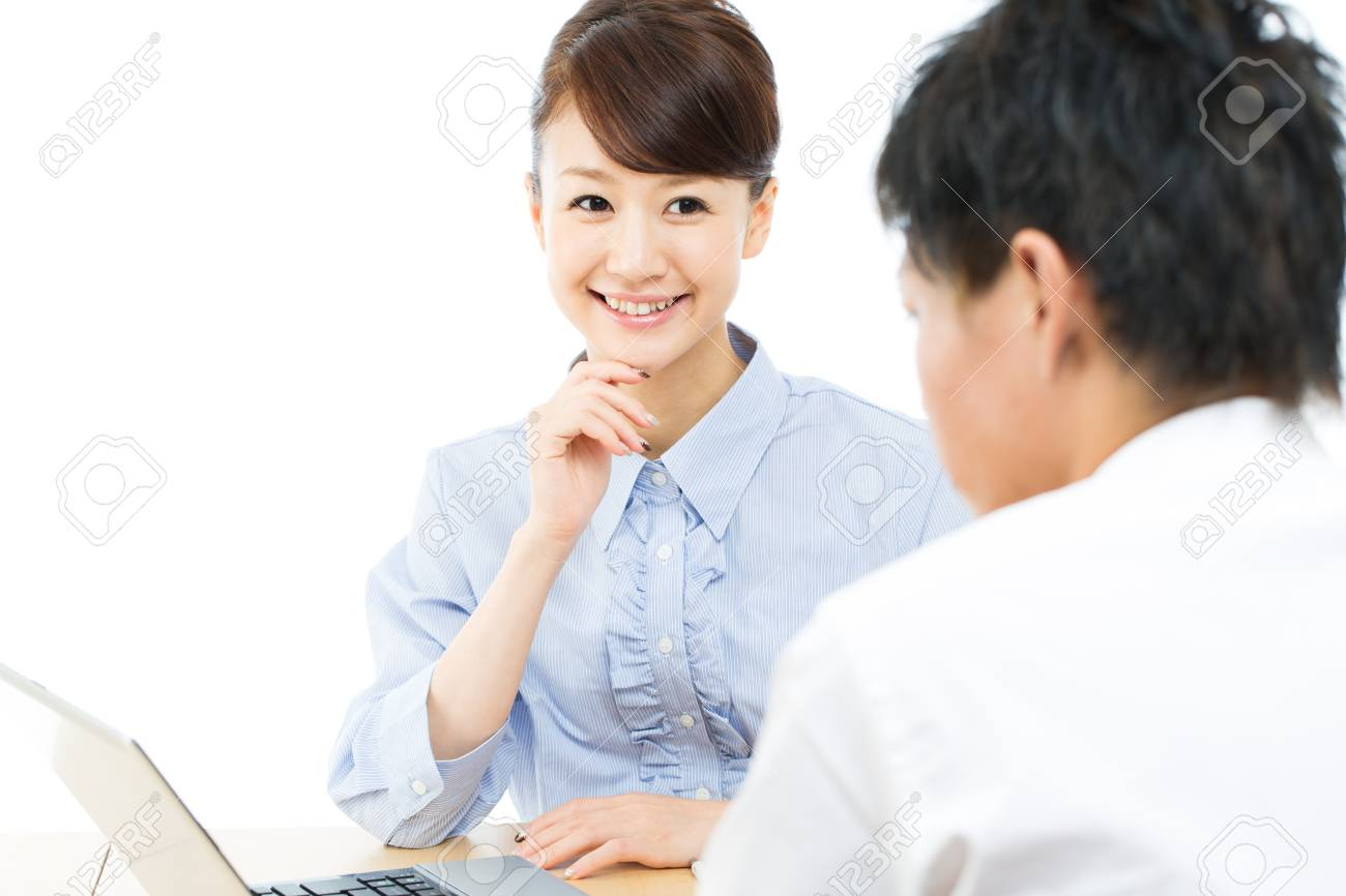 Young asian smiling businesswoman and businessman Stock Photo - 16141119
