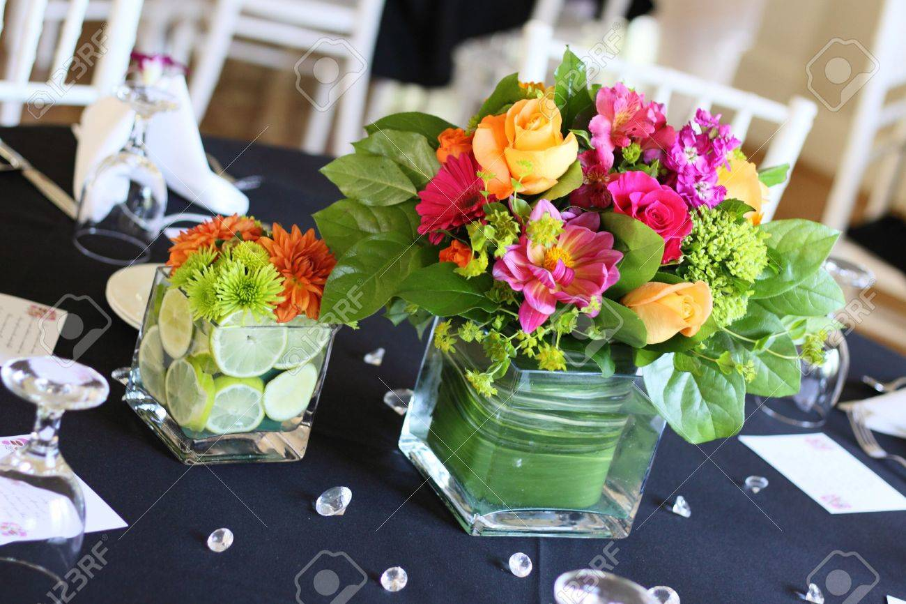 A beautiful arrangement of flowers on table at reception Stock Photo - 7963485