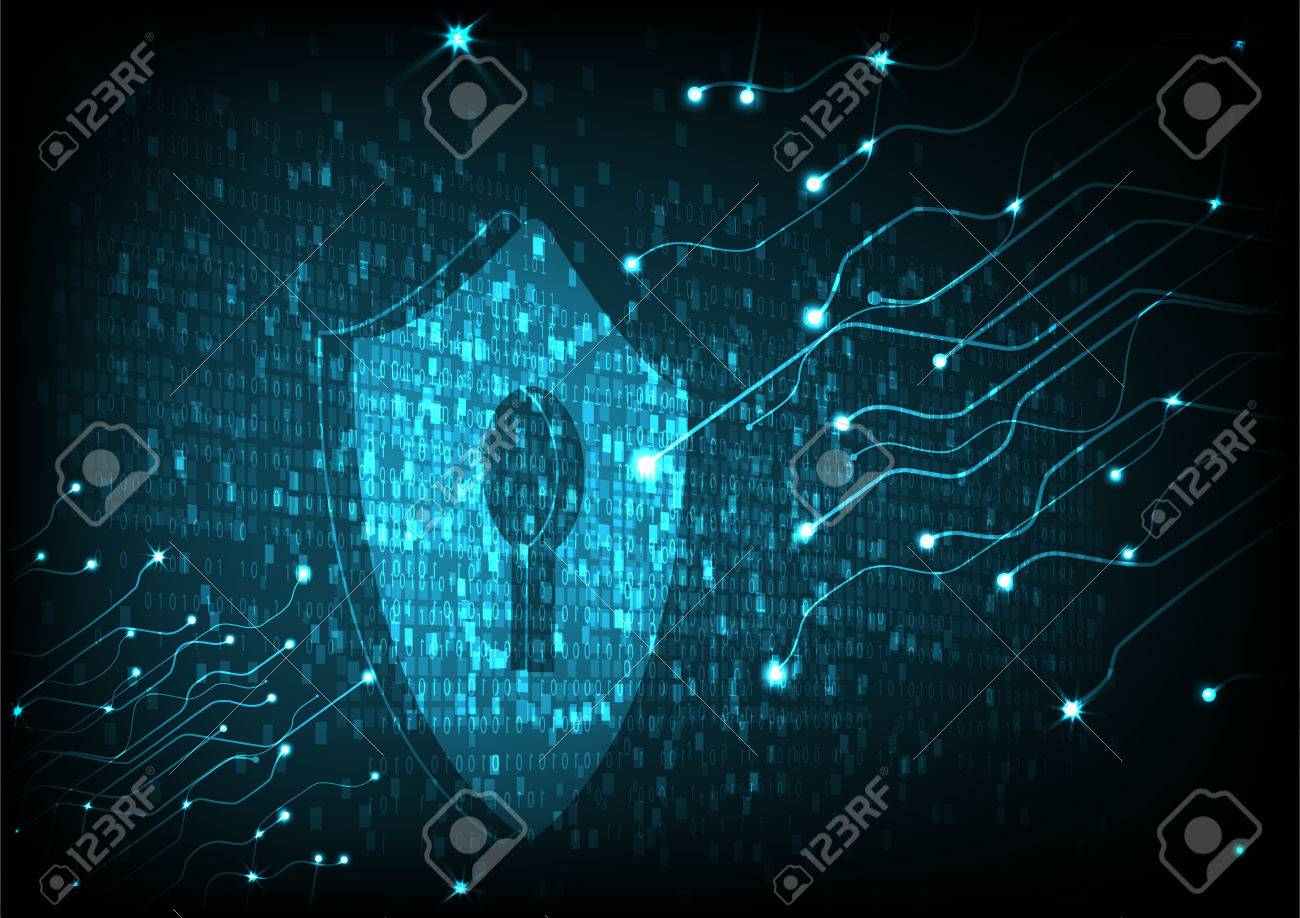 Cyber security concept: Shield With Keyhole icon on digital data